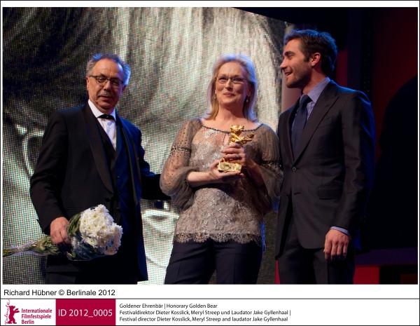 Homage to Meryl Streep 2012 - Festival director Dieter Kosslick, Meryl Streep and laudator Jake Gyllenhaal - copyright Berlinale