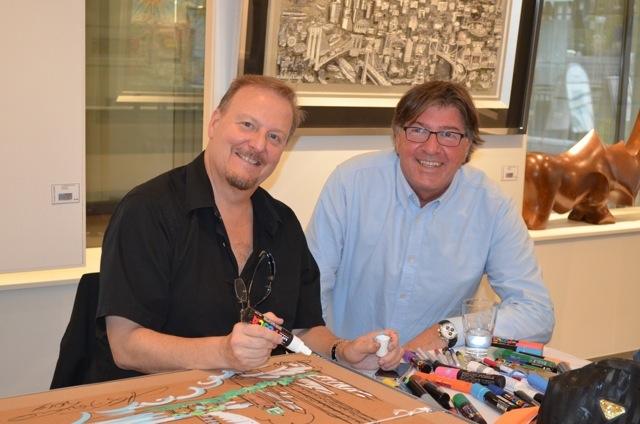 Alex Brandi (right) with artist Charles Fazzino - copyright Alex Brandi