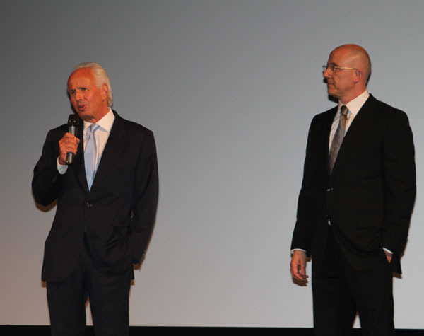 Andrew Braunsberg and Laurent Bouzereau giving a speech at the Polanski award ceremony in Zurich