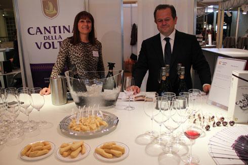 Angela Sini, CEO of Cantina della Volta winery with Angiolini Giorgio at the Gourmesse 2011 in Zurich