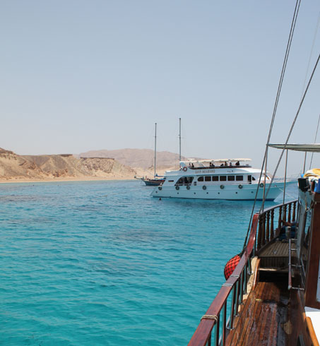 Approaching Tiran island (Egypt) on a sailing boat
