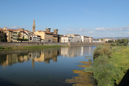 view of the Arno river and its buildings in Florence
