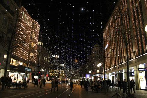 Bahnhofstrasse with Lucy by night, Zurich