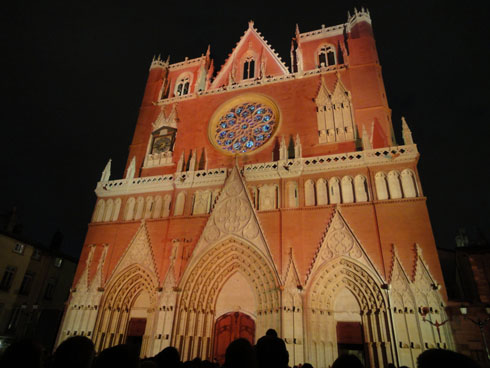Beautiful cathedral St Jean - Lyon festival of lights