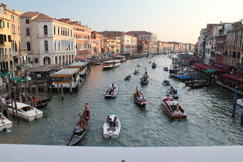Boats on the Canal Grande in Venice for the Redentore Festival