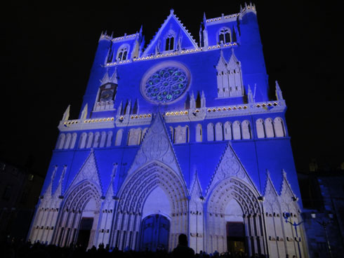 Cathedral St Jean - Blue and grey colors - Lyon festival of lights