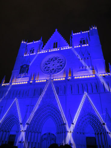 Cathedral St Jean - Blue colors - Lyon festival of lights