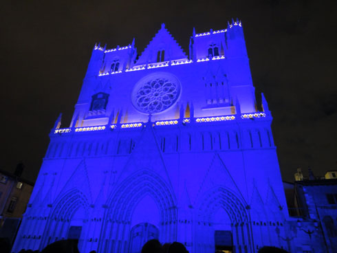 Cathedral St Jean all in blue - Lyon festival of lights