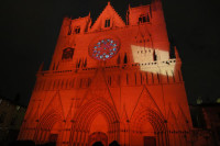 The many faces of the Cathedral St. Jean in Lyon during the Festival of Lights