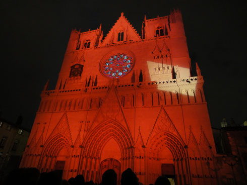 Cathedral St Jean with orange colors - Lyon festival of lights