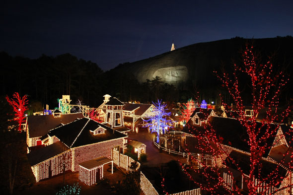Christmas Lights Village at the Stone Mountain Park in Georgia (USA) - copyright Stone Mountain Park