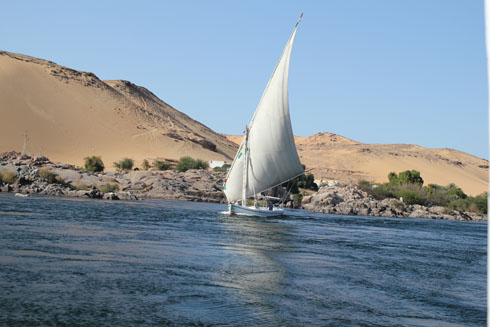 Cruising along the Nile in Egypt in March 2011