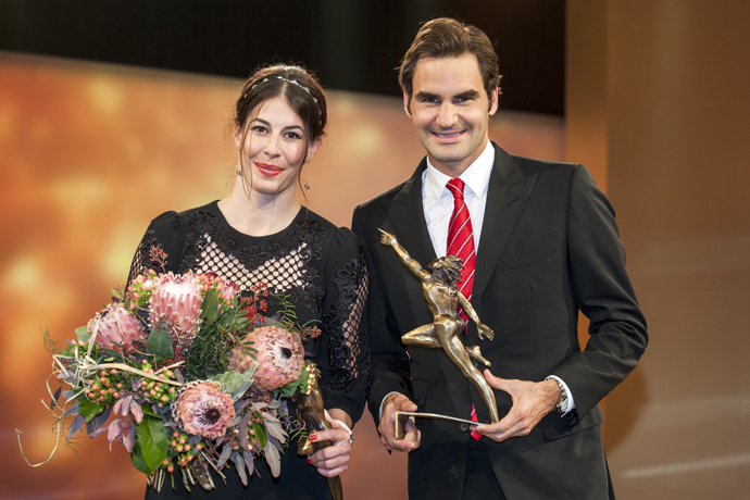 Dominique Gisin (left) and Roger Federer (right) at the Credit Suisse Sports Awards Dec 14th 2014, in Zuerich (PHOTOPRESS Alexandra Wey)