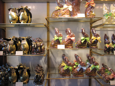 Chocolate Easter bunnies from Sprüngli