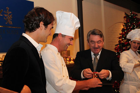 Ernst Tanner, Federer and Maitre chocolatier and the new Lindt Teddy