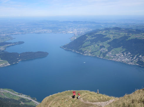 Experienced walkers arriving at Rigi Kulm