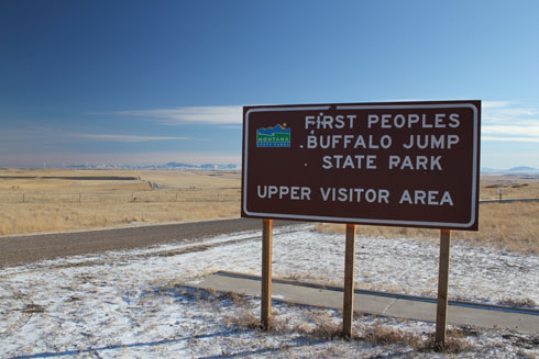 First Buffalo Jump Park sign near Ulm, Montana