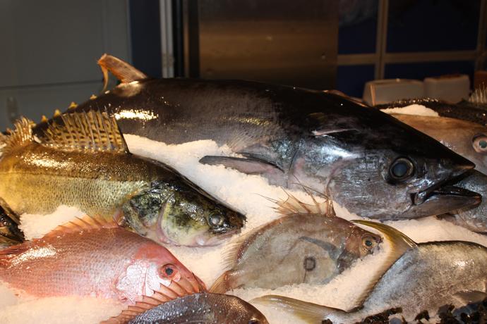 Fresh fish from the Viadukt fish market in Zurich