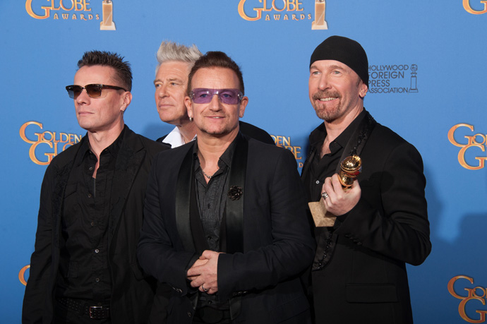 U2 at the 71st Golden Globes-Golden-Globe®-Awards-images