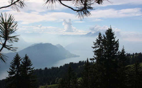 Hiking down from Rigi with views of the lake of Lucerne