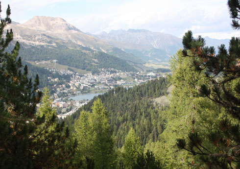 Hiking down to St. Moritz