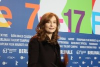 Isabelle Huppert in Berlin with film team of 'The Nun'