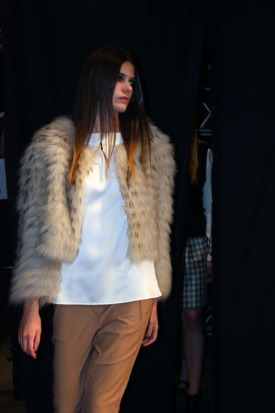 Jelmoli fashion show - model with fur vest