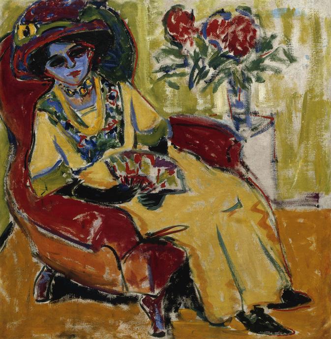 Sitzende Dame, Dodo - Kirchner-Dodo-copyright-Bayerische-Staatsgemälde-Sammlungen-Sammlung-Moderne-Kunst-in-der-Pinakothek-der-Moderne-in-Munich