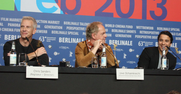 Kostja Ullmann, Uwe Ochsenknecht and film director Chris Sanders at the press conference for The Croods at the Berlinale