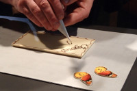 Maitre Chocolatier Laurent Robatel makes chocolate tablets