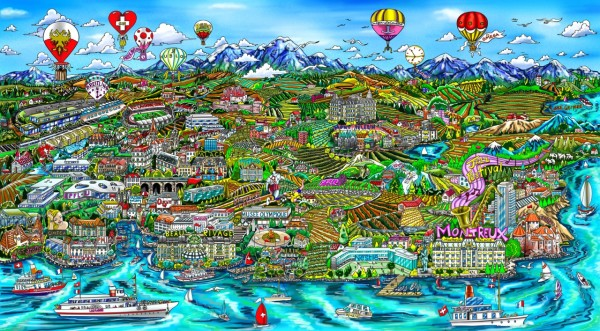Lausanne color revised - copyright Charles Fazzino - Gallery Art Loft
