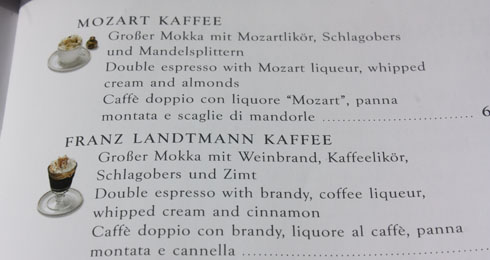 list of coffees at café Landtmann in Vienna