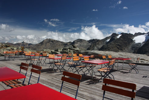 Lonely terrasse of the Berghaus Fuorcla Surlej