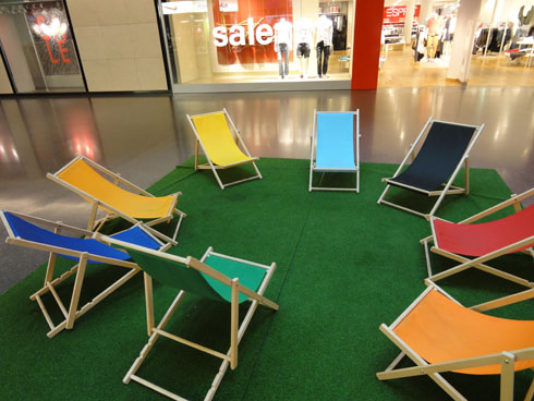 Lounge chairs in a Zurich Mall