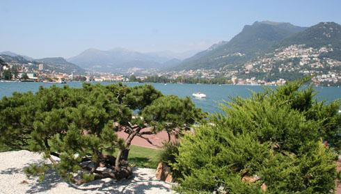 Lugano lake along the Lugano Promenade