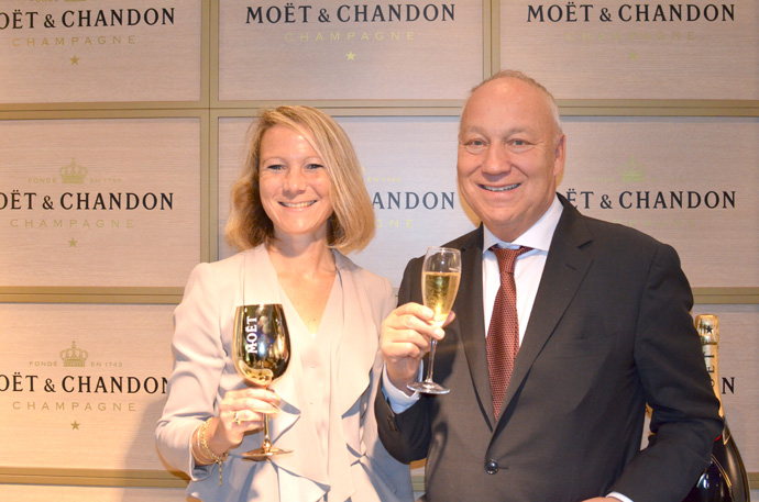 Marie-Laure Trichard, Marketing Director Moët Hennessy (Suisse) SA with Roger Brennwald, President of Swiss Indoors copyright Jorge Guerreiro & Rosalie Grobet