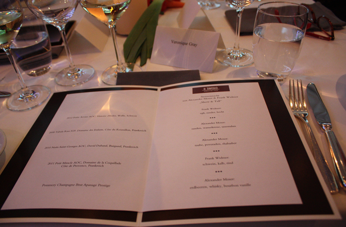 Menu IL TAVOLO star night at the Zurich Park Hyatt - copyright Veronique Gray