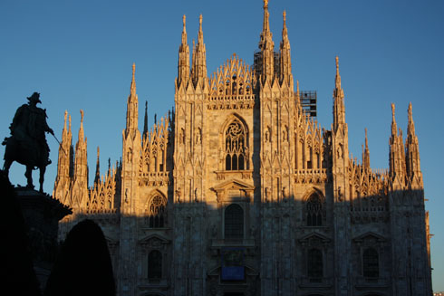 Milan's cathedral at sunset in late december