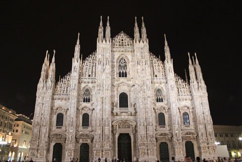 Milan cathedral by night