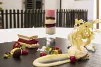 Il Casale millefeuil​le of rhubarb with vanilla ice-cream