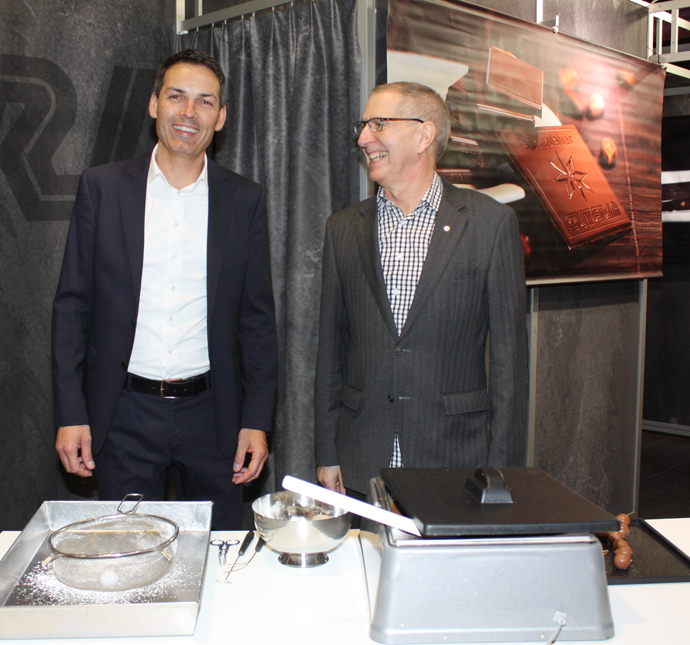 Mr Suter (right) with Mr Brüderli from Suteria at the salon du chocolat - copyright Veronique Gray