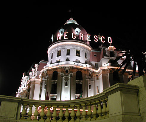 Hotel Negresco by night in Nice