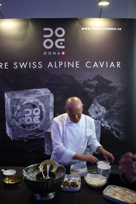 Oona Caviar with sales director Heinrich Stehli at il tavolo, at the headquarters of Gate Gourmet - copyright Veronique Gray