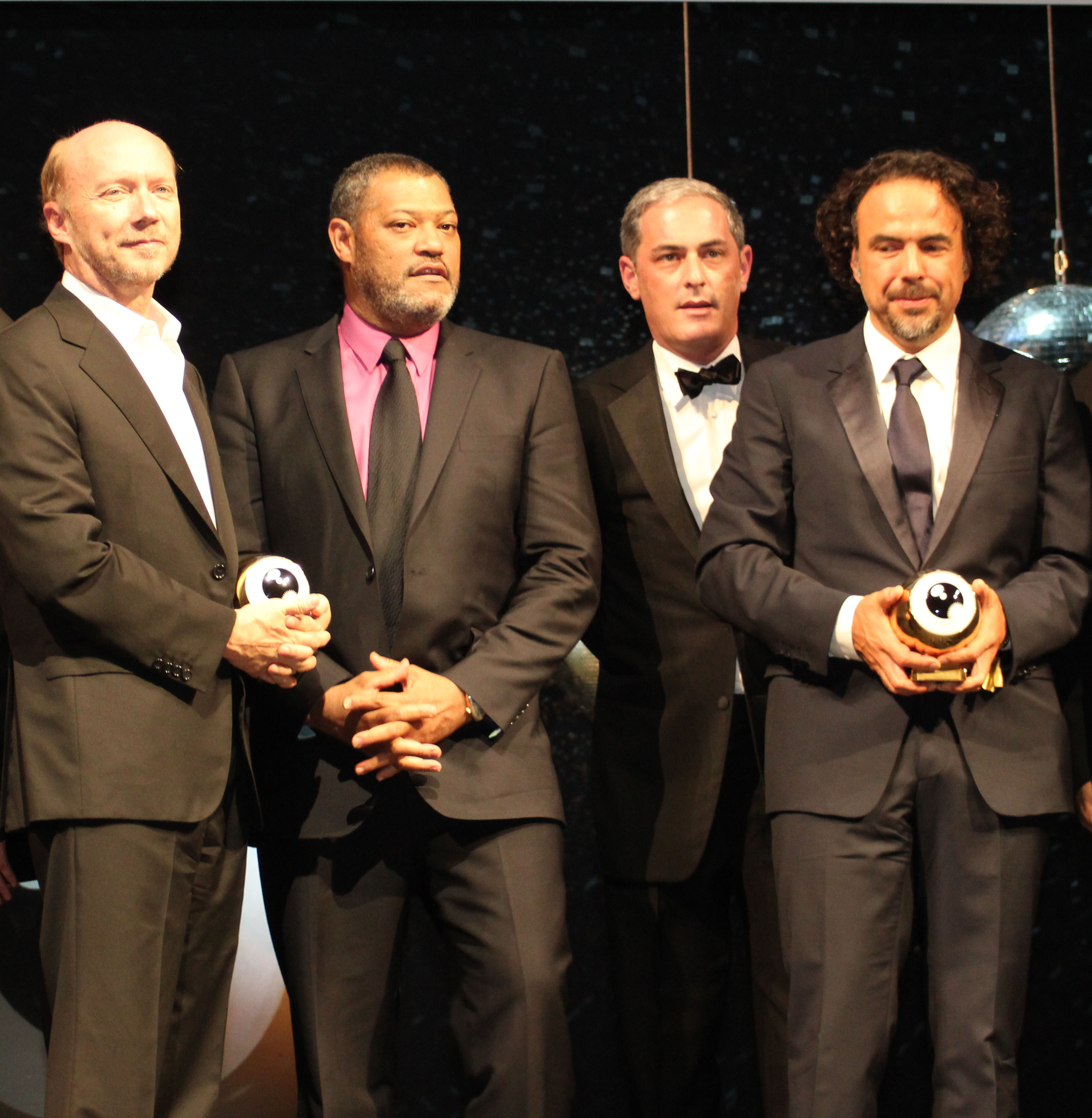 Paul Haggis (L) and Alejandro Gonzalez Inarritu (R) with their Golden Eyes at the closing ceremony of ZFF 2011