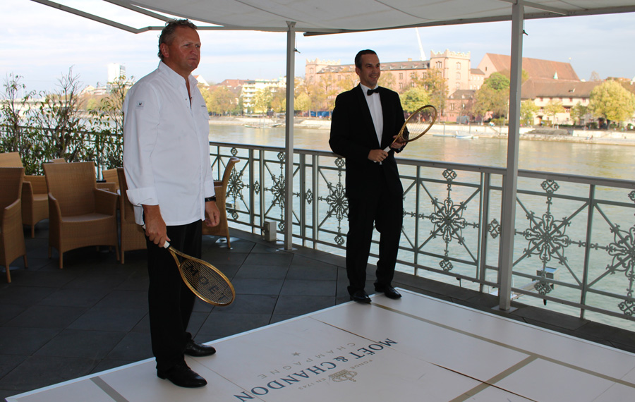 Peter Knogl, Chef de Cuisine Cheval Blanc (left) and Chef de Bar, Thomas Huhn (right) - Grand Hotel les Trois Rois, Basel - Moet & Chandon event - copyright Veronique GRAY