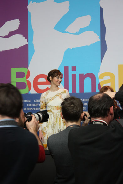 Photographers taking actress Louise Bourgouin at the Berlinale