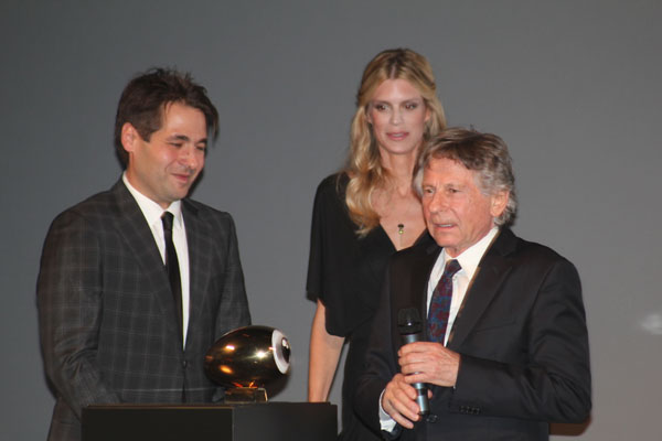 Director Roman Polanski at the award ceremony on Tuesday September 27th, 20911 with directors Karl Spoerri and Nadja Schildknecht
