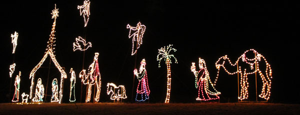 religious scene at the magical nights of lights lake lanier
