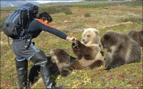 Reno Sommerhalder with bear cubs in Kamchatka
