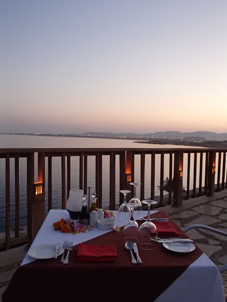 Romantic dinner at the Reef Oasis Blue Bay Resort and Spar in Sharm el Sheikh